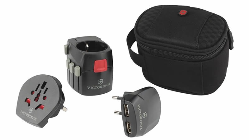 Worldwide Grounded Adapter Plug with USB Charger