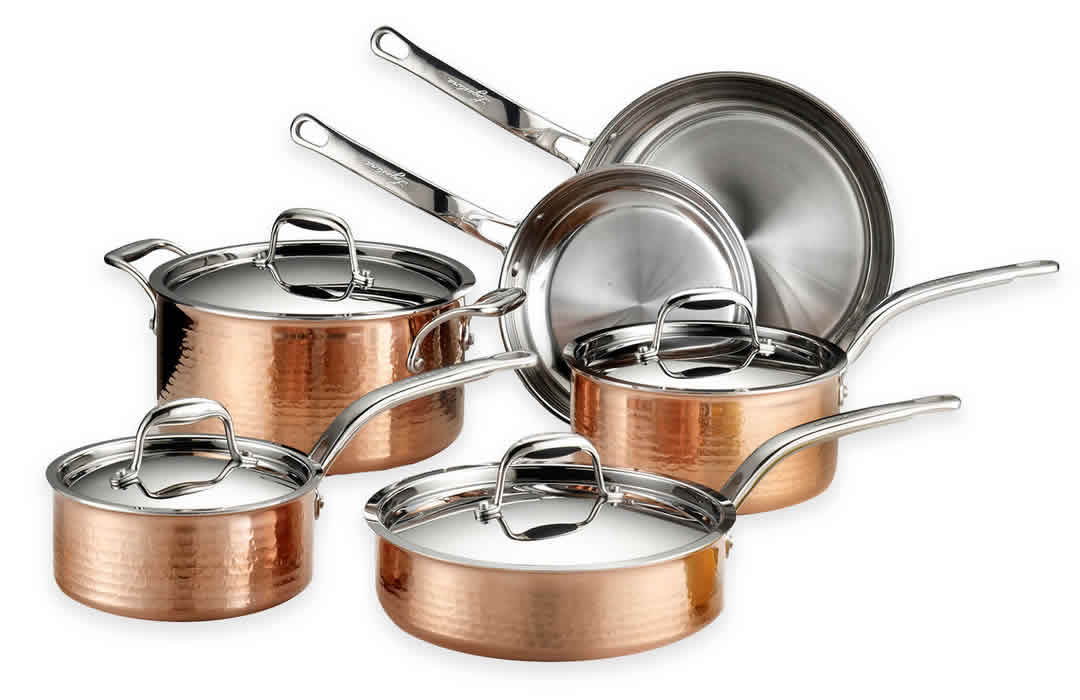 Lagostina Martellata Hammered Copper Cookware Pinstripe